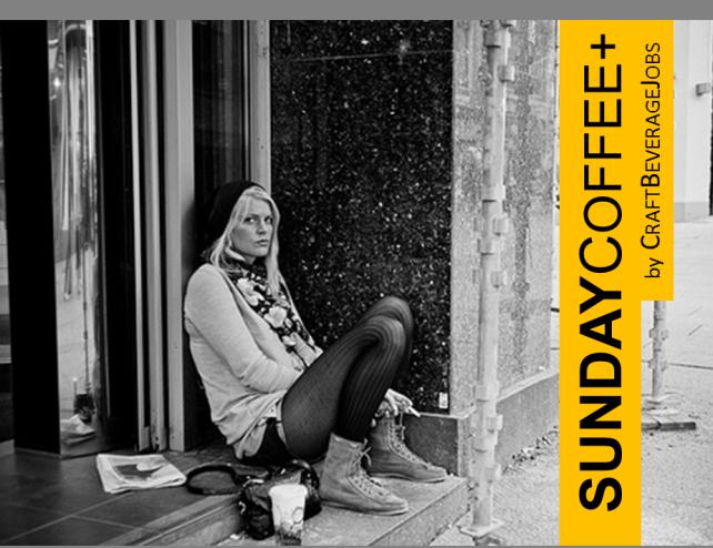 sunday coffee girl sitting on step