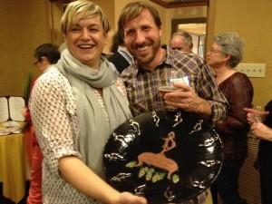 John & Jen Kimmich receiving the 2014 Kathy O'Dell Community Service Award